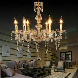 6 Feux Lampe pampilles Lustre Cristal Plafonnier Suspension