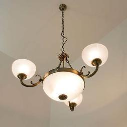 Art Nouveau Luminaire Suspendu Optique en Laiton Lampe à Su