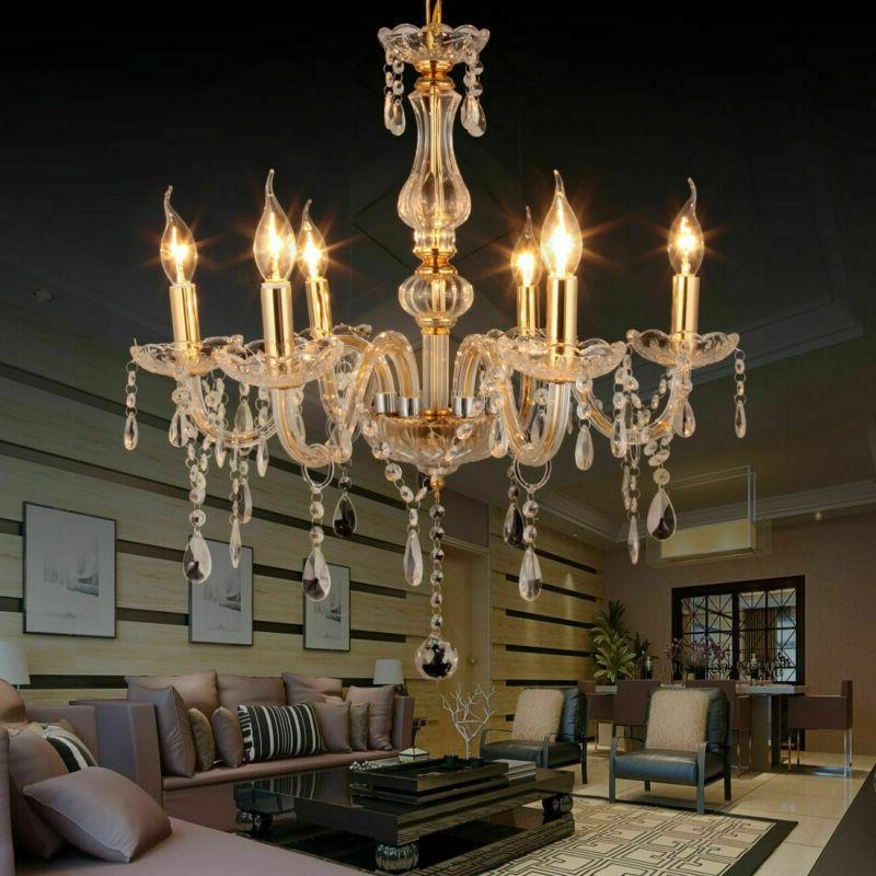 6 feux lampe pampilles lustre cristal plafonnier