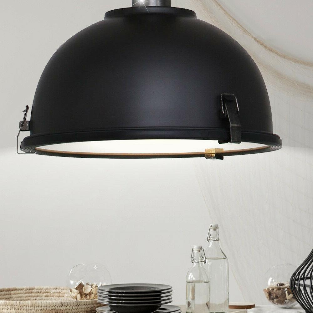 lampe suspendue plafond vintage industriel noir salon