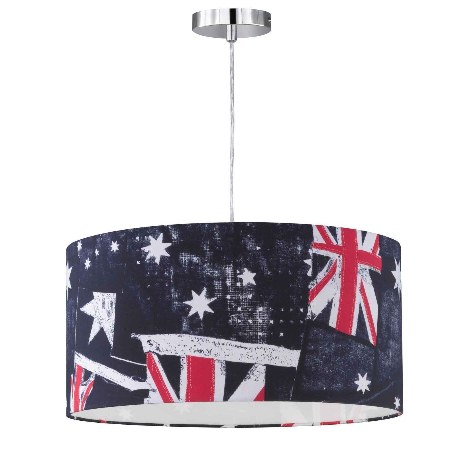 luminaire suspendu banniere drapeau decor lampe chromee