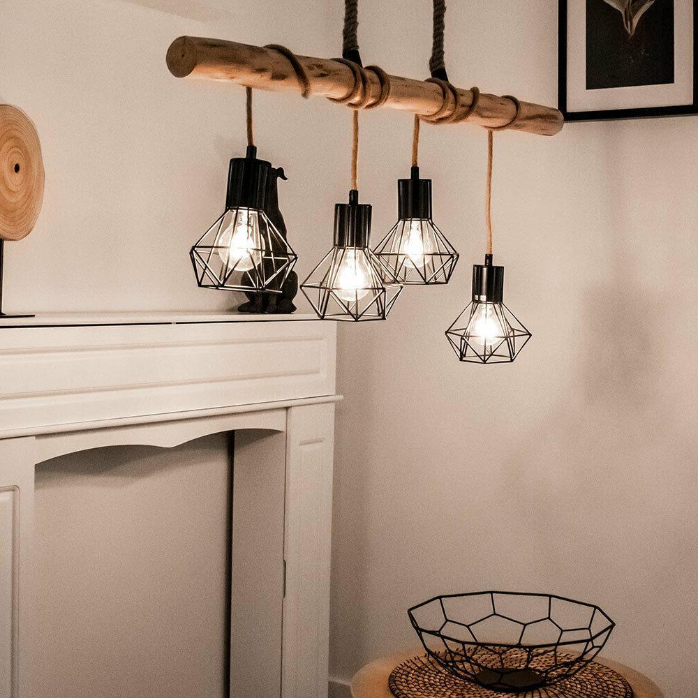 luminaire suspendu bois baton grille la vie