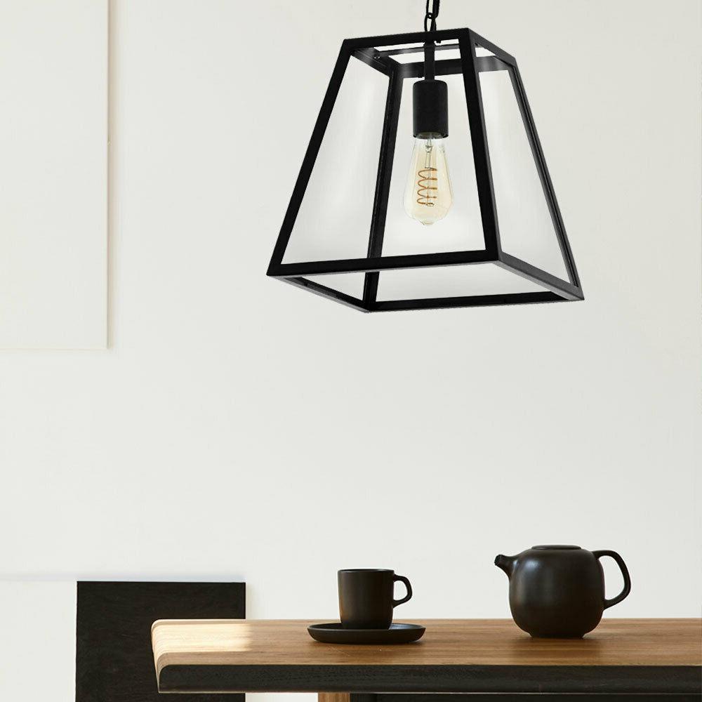 luminaire suspendu verre noir industriel style ess