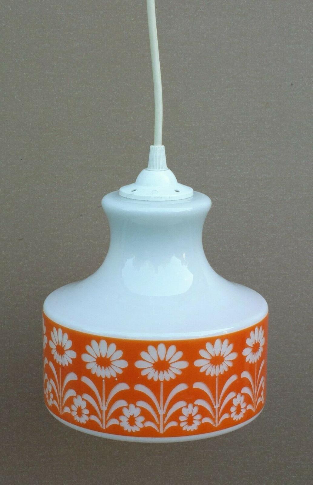 suspension fleurs orange and blanche vintage plafonnier