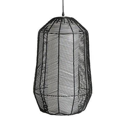 suspension luminaire en rotin noir 58x37cm