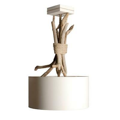 suspension luminaire ronde en bois flotte personnalisable