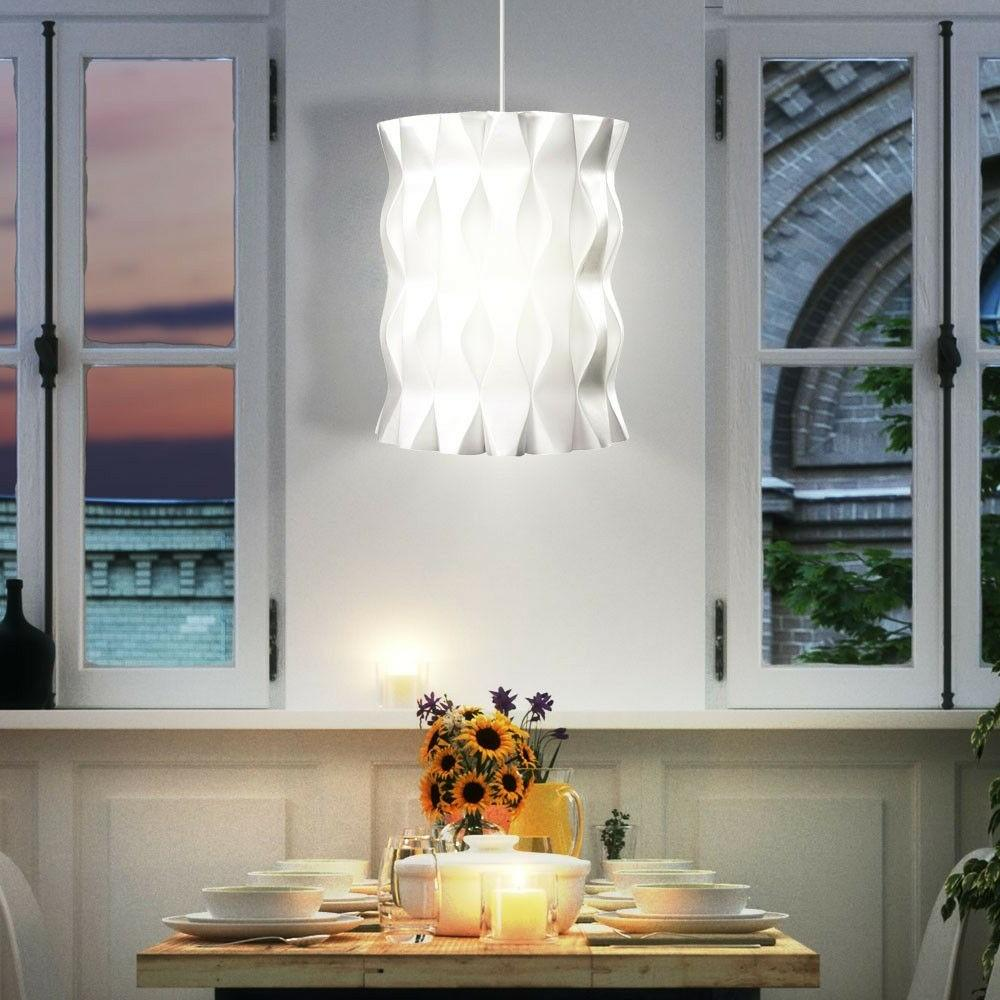 suspension lustre luminaire plafond blanc rond ondule