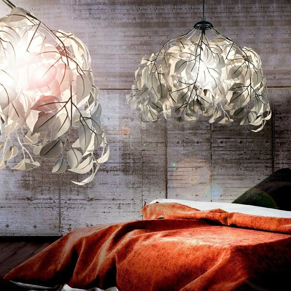 suspension lustre luminaire plafond floral feuilles eclairag