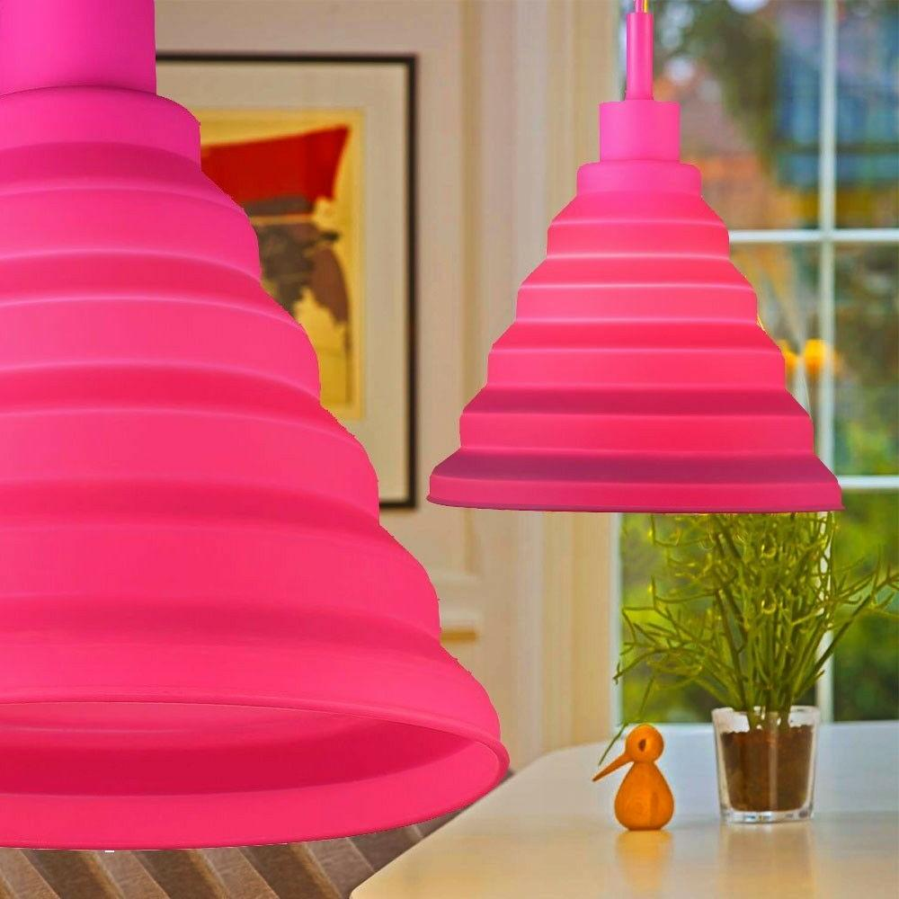 suspension lustre luminaire silicone rose bonbon salle