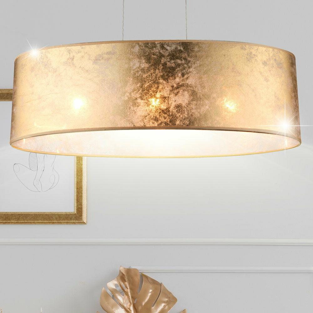 suspension lustre plafonnier tissu dore salle de