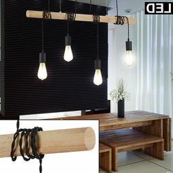 LED Bois Luminaire de Plafond Vintage Design Suspendu Bureau