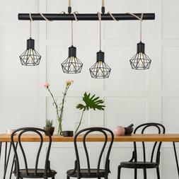 LED Cage Plafonnier Suspendu Lampe Vintage Filament Chanvre