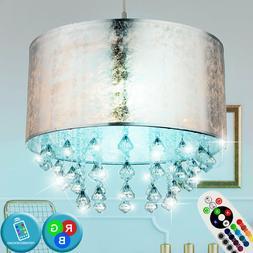 LED Tissu Luminaire Plafond Argent RGB Télécommande Crista