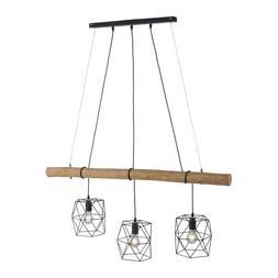 Luminaire Suspendu Edgar Vintage Rétro Noir Bois Lampe E27