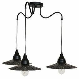 Luminaire Suspendu Noir 3x E27 Lampe Vintage Couverture à S