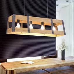 Luminaire suspendu vintage en bois pendule plafonnier fer de