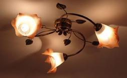 Neuf Plafonnier Suspension 3 à Flammes Haut Luminaire Lampe