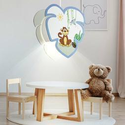 Pendule lampe bébé salle de jeux bois singe motif garçon