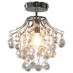 vidaXL Plafonnier avec Perles de Cristal Rond Lampe Suspendu