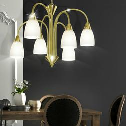 Plafonnier LED Luminaire Plafond Laiton Or Verre Lustre la V