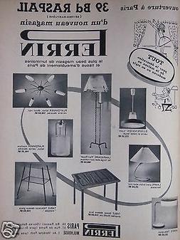PUBLICITÉ 1961 PERRIN SPÉCIALISTE EN LUMINAIRES LAMPES SUS