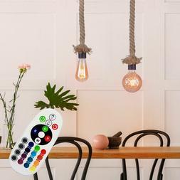 RGB LED Luminaire Suspendu Chanvre Corde Vintage Variateur d