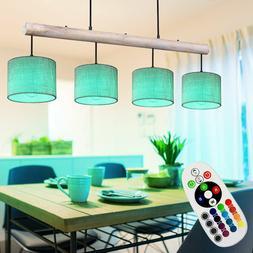 RGB LED Luminaire Suspendu Gris Télécommande Bois Tissu Co