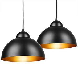 Set de 2 lampes à suspendre noir-or plafond luminaire à su