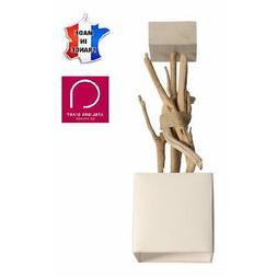 Suspension luminaire blanche en bois flotté et base en bois