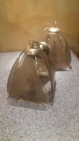 Suspension luminaire vintage métal et verre gravé