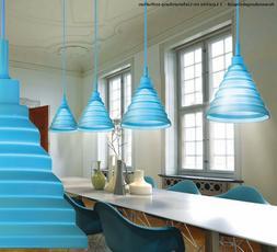 Suspension lustre design luminaire silicone bleu salle à ma