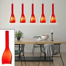 Suspension lustre luminaire plafond nickel mat verre rouge b