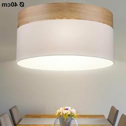 Suspension textile beige bois lustre luminaire plafond écla