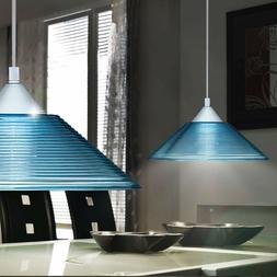 Luminaire Suspendu Bleu Plafonnier Lampe Stries Verre Salon