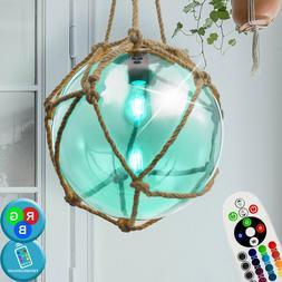 Vintage RGB LED Pendule Luminaire de Plafond Verre Salon Cha